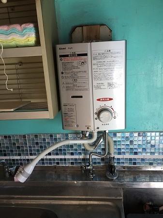 リンナイの台所の給湯器の取り付け工事、完成です。費用も格安。ぜひご相談ください。